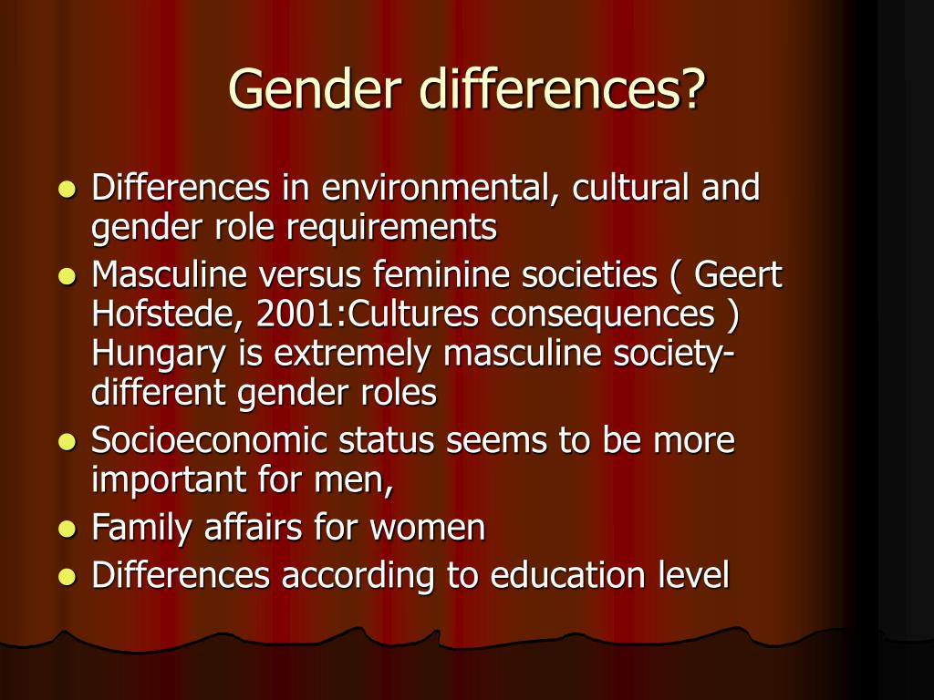 Gender differences?