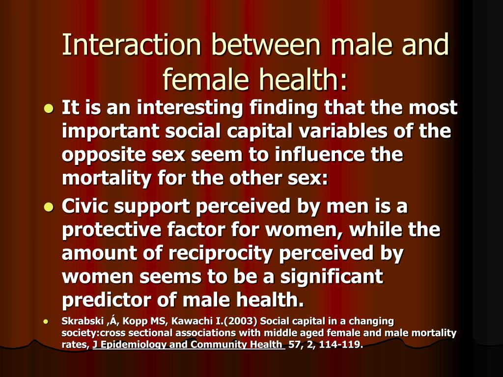 Interaction between male and female health: