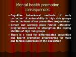 mental health promotion consequences