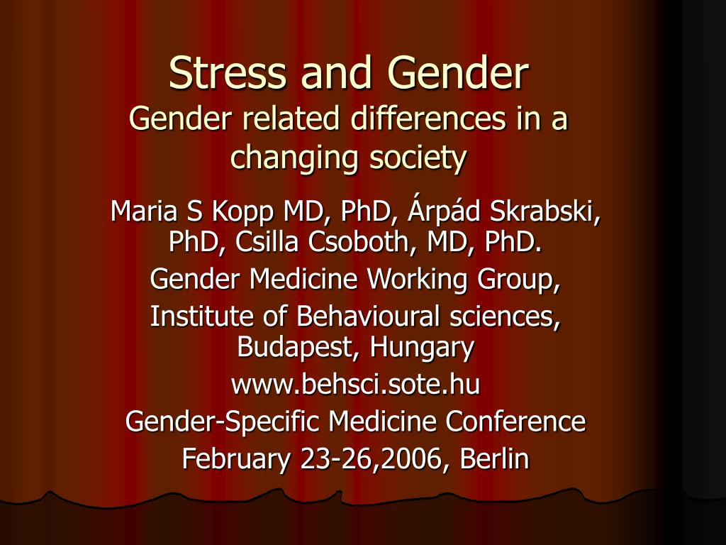 stress and gender gender related differences in a changing society l.