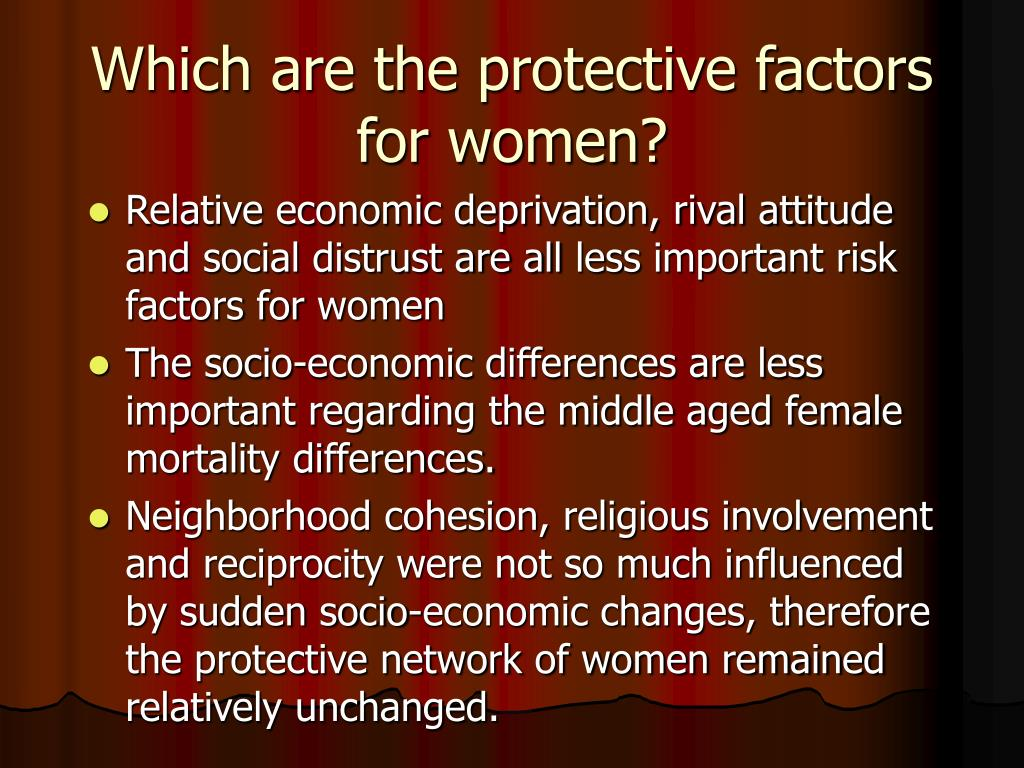 Which are the protective factors for women?