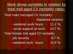 work stress variables in relation to total mid aged cv mortality rates