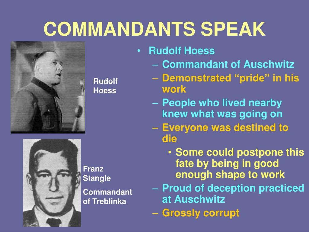 COMMANDANTS SPEAK