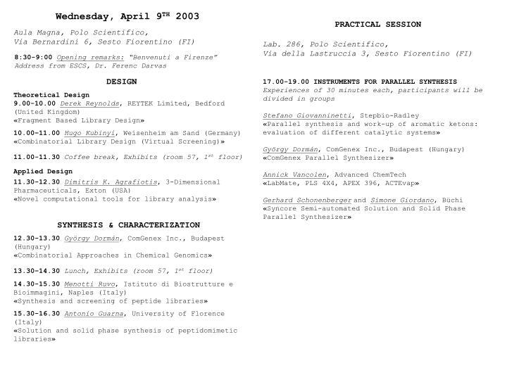 Wednesday, April 9