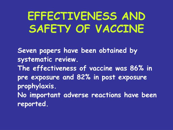 EFFECTIVENESS AND SAFETY OF VACCINE