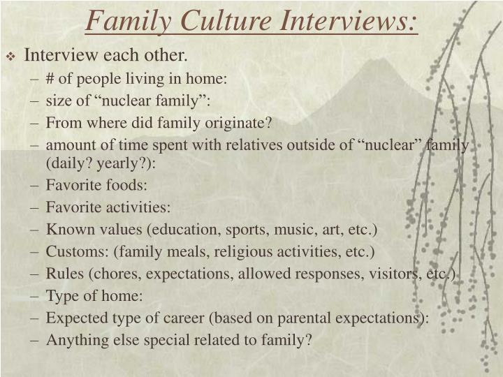 Family culture interviews