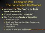 ending the war the paris peace conference