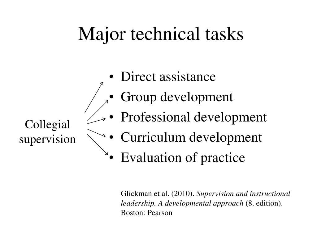 Major technical tasks