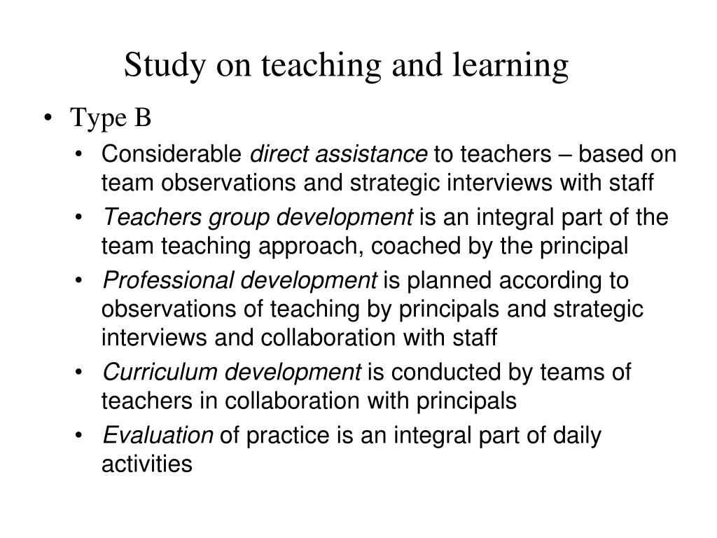 Study on teaching and learning