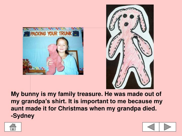 My bunny is my family treasure. He was made out of my grandpa's shirt. It is important to me because my aunt made it for Christmas when my grandpa died.
