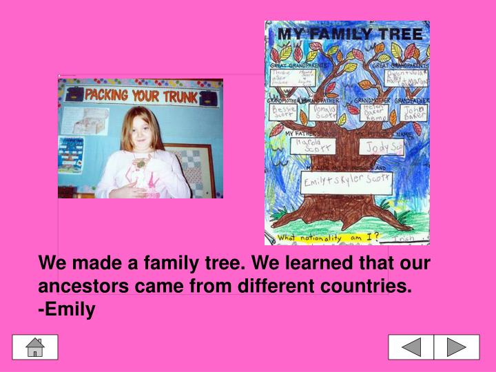 We made a family tree. We learned that our ancestors came from different countries.