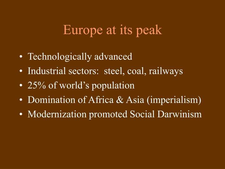 Europe at its peak
