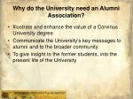 why do the university need an alumni association