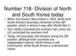 number 118 division of north and south korea today