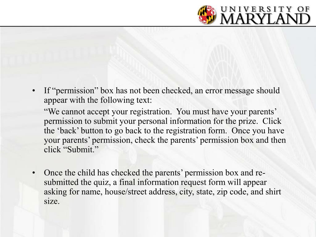 "If ""permission"" box has not been checked, an error message should appear with the following text:"