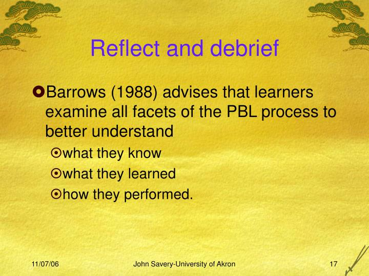 Reflect and debrief