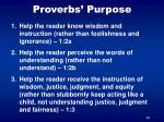 proverbs purpose