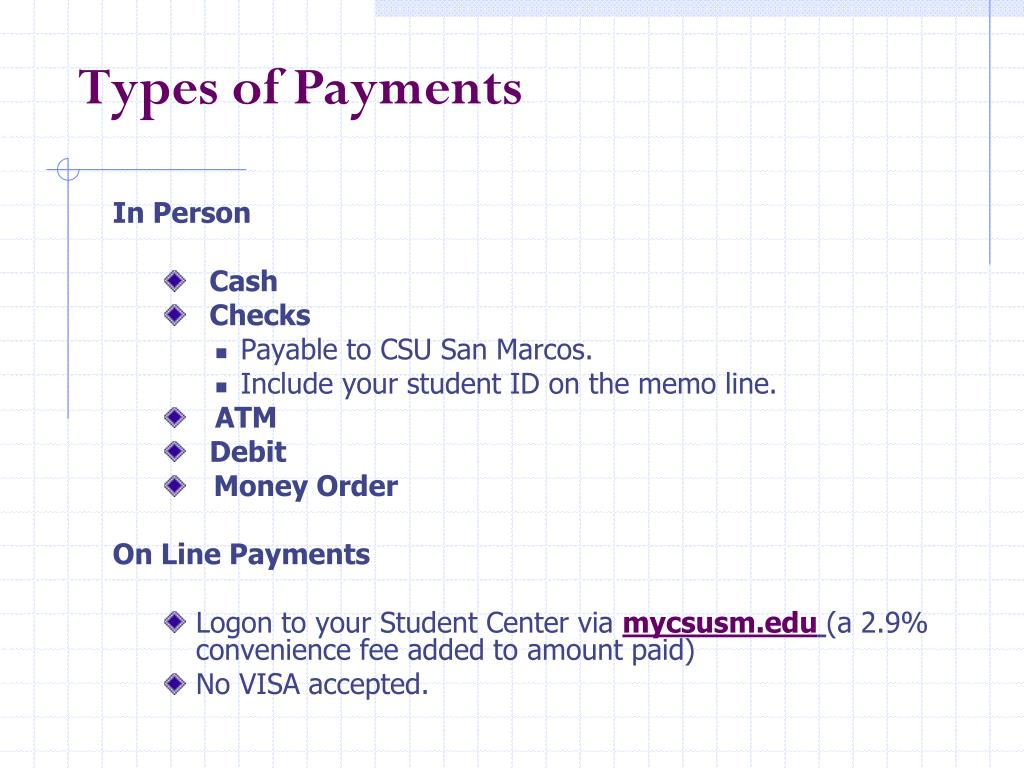 Types of Payments
