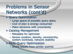 problems in sensor networks cont d