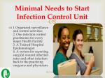minimal needs to start infection control unit