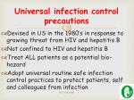universal infection control precautions