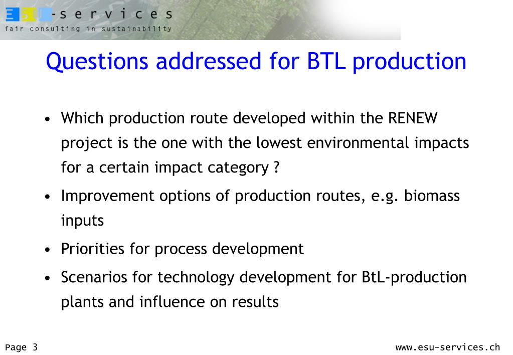 PPT - Life Cycle Assessment of BTL-fuels, Conversion Concepts and
