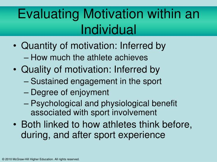Evaluating Motivation within an Individual