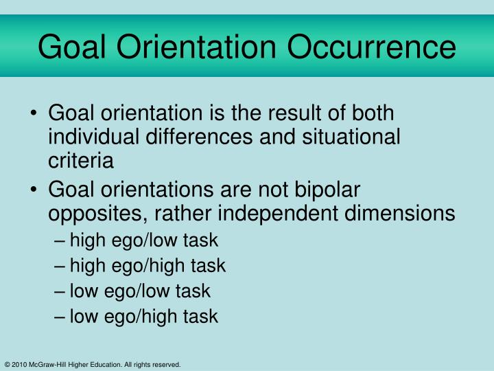 Goal Orientation Occurrence