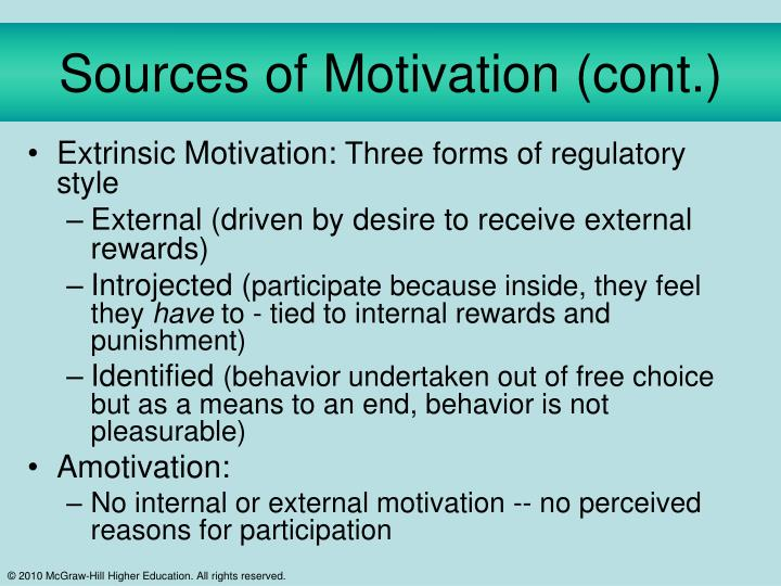 Sources of Motivation (cont.)