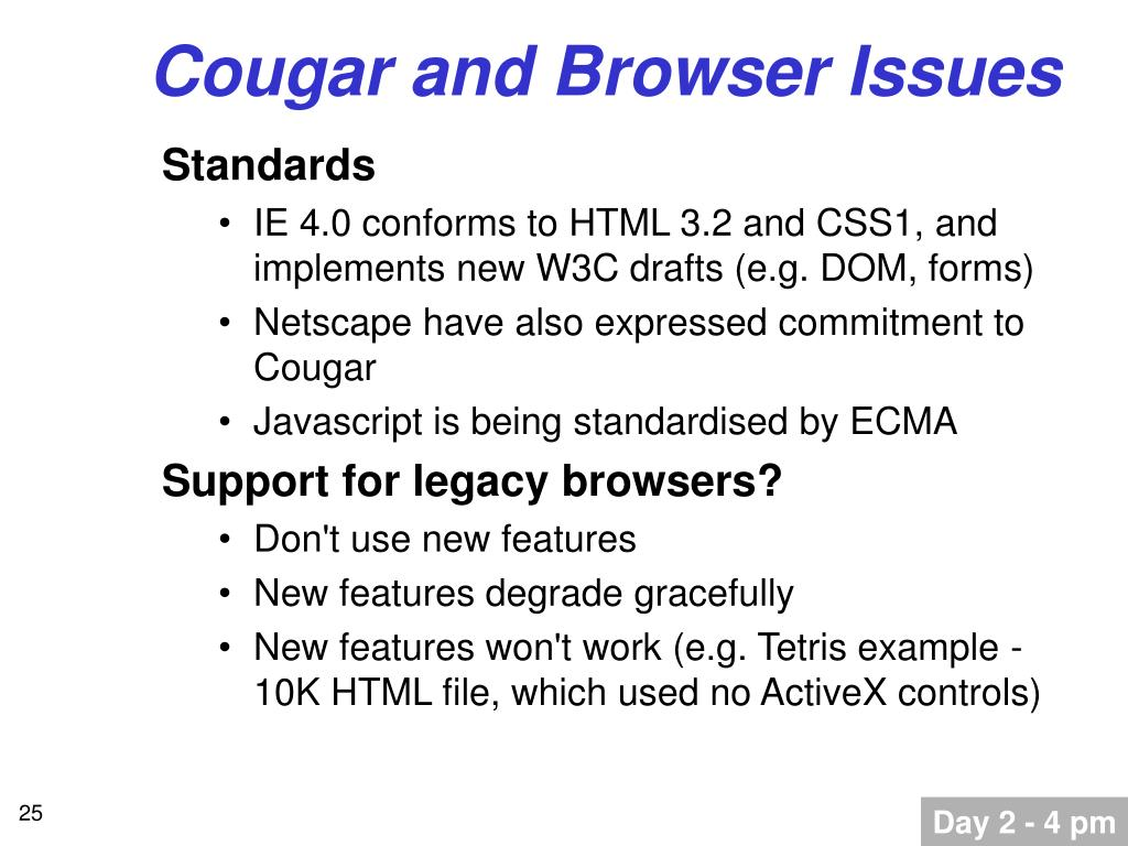 Cougar and Browser Issues
