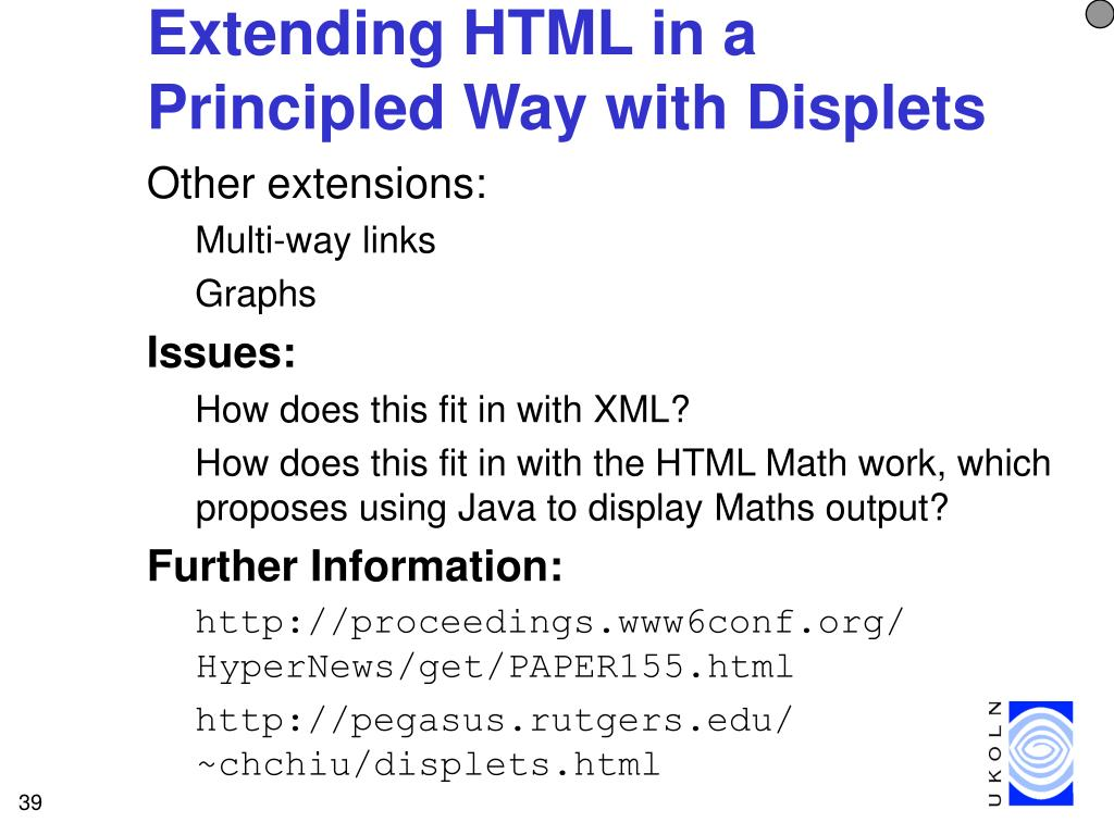 Extending HTML in a Principled Way with Displets