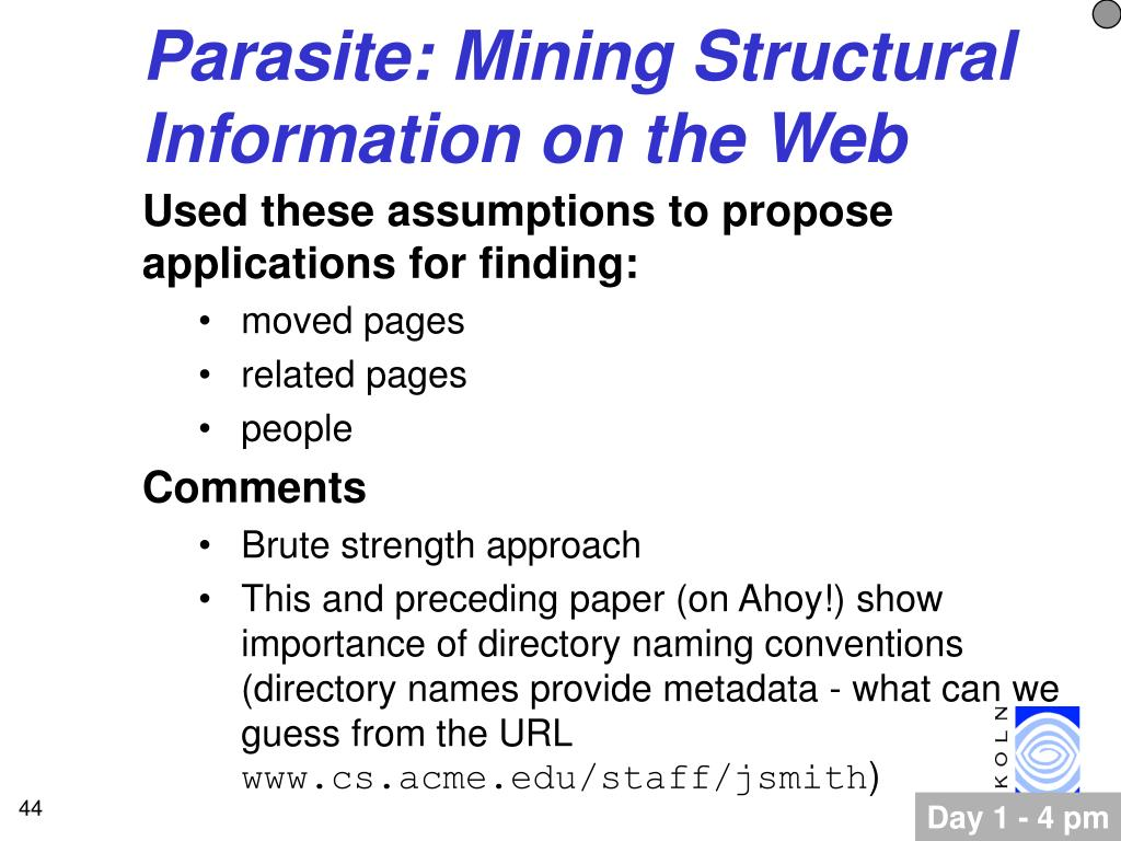 Parasite: Mining Structural Information on the Web