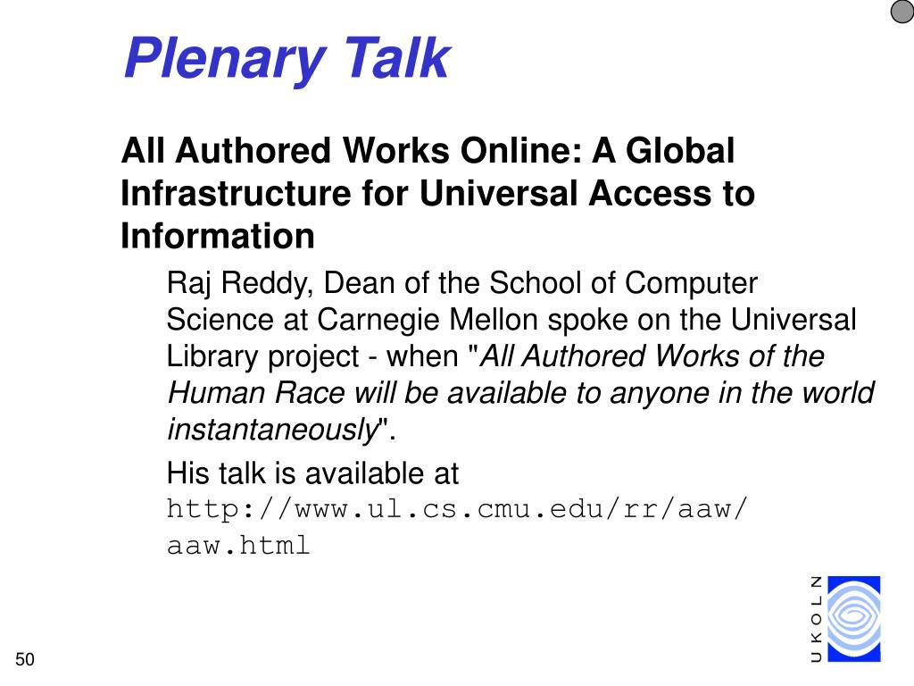 Plenary Talk