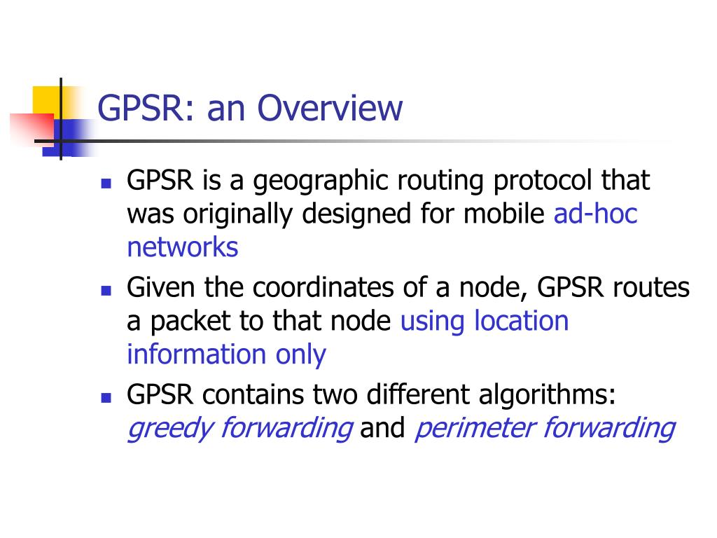 GPSR: an Overview