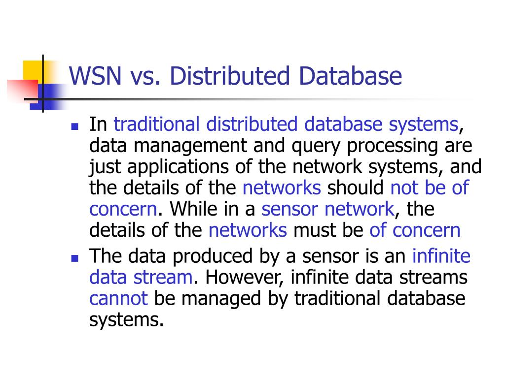 WSN vs. Distributed Database