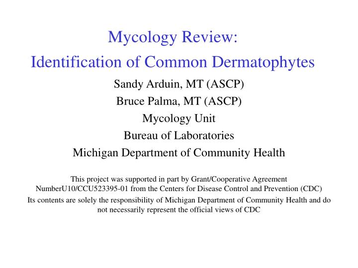 Mycology review identification of common dermatophytes