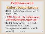 problems with enterobacteriace ae