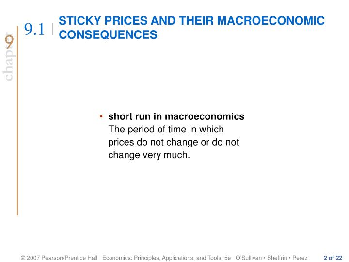 Sticky prices and their macroeconomic consequences
