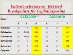 enterobacteriaceae revised breakpoints for cephalosporins