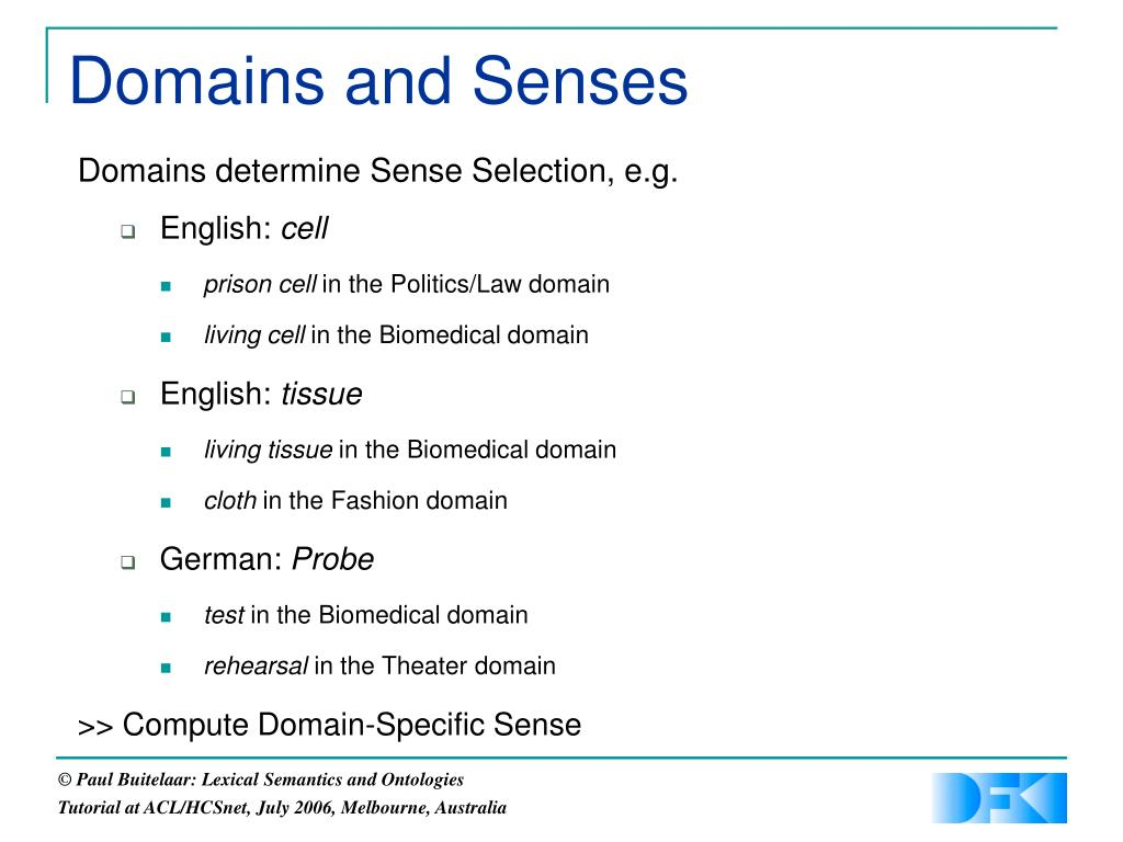 Domains and Senses