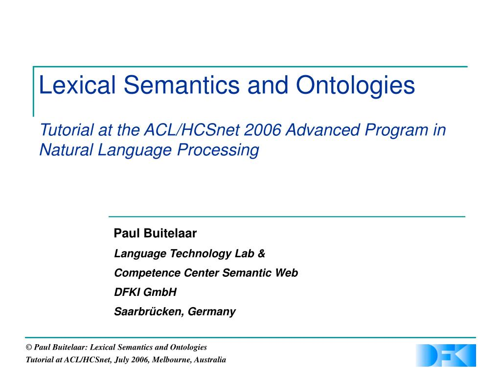 Lexical Semantics and Ontologies