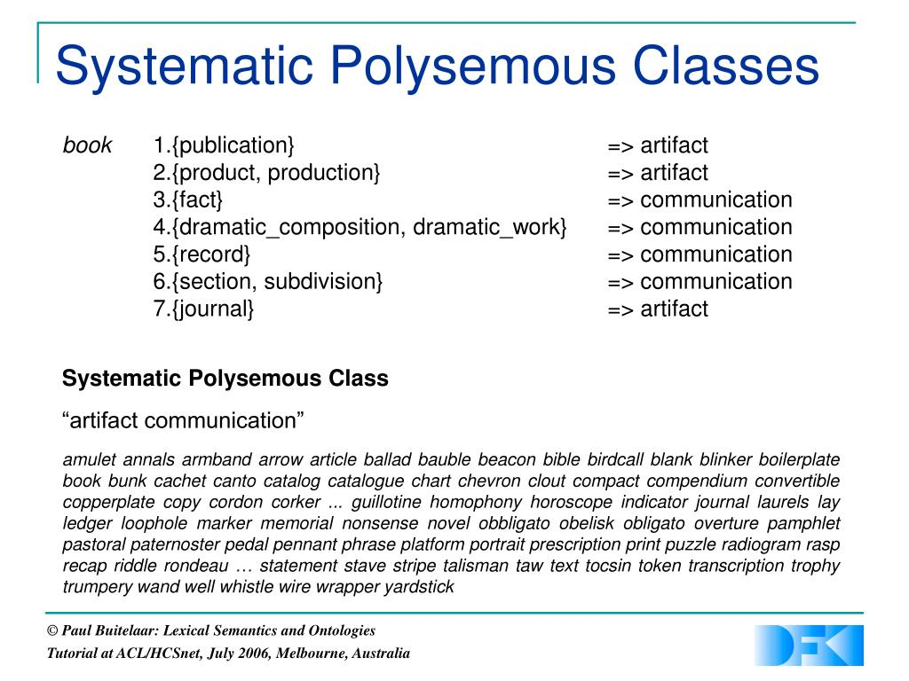Systematic Polysemous Classes