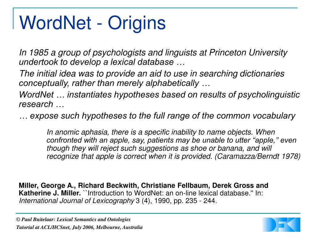 WordNet - Origins