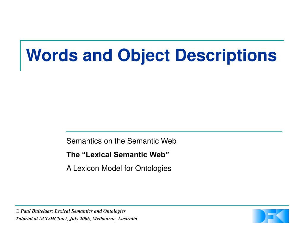Words and Object Descriptions