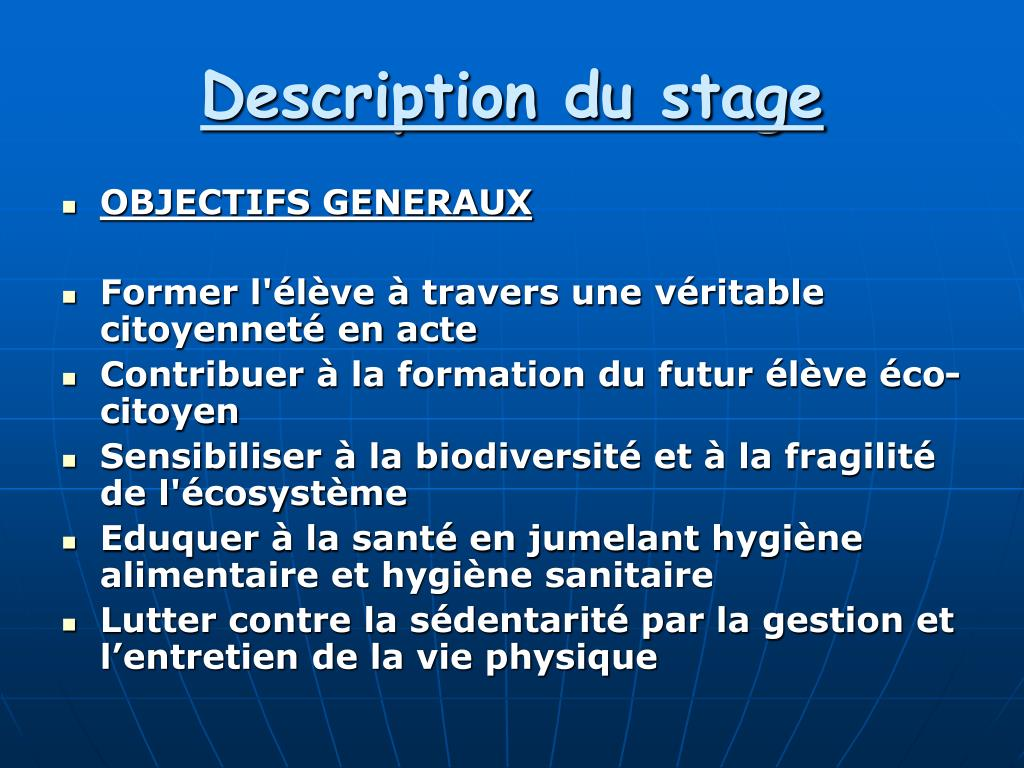 Description du stage