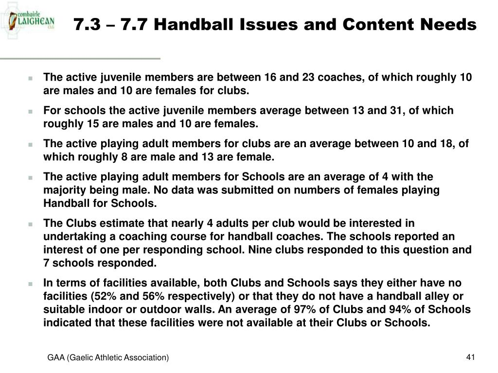 7.3 – 7.7 Handball Issues and Content Needs