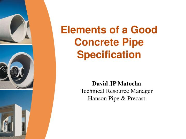 elements of a good concrete pipe specification n.