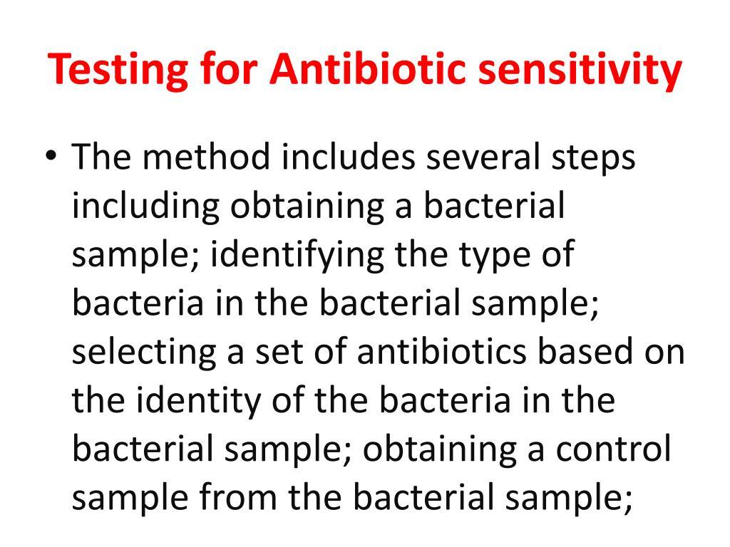Testing for Antibiotic sensitivity