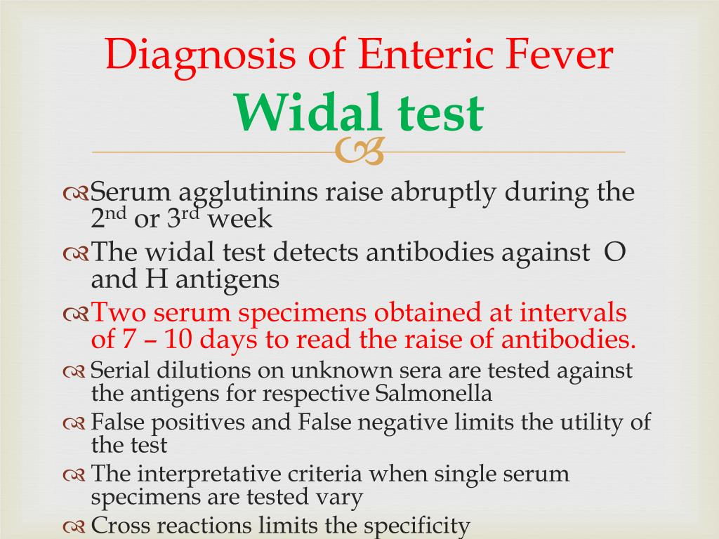 Diagnosis of Enteric Fever