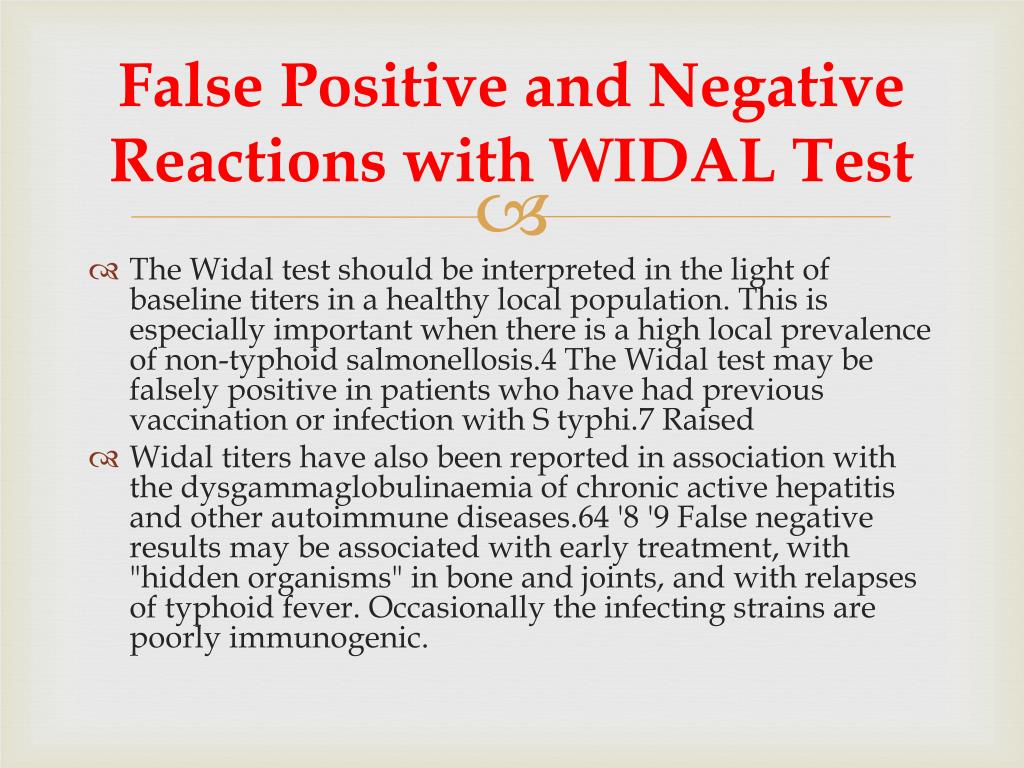 False Positive and Negative Reactions with WIDAL Test